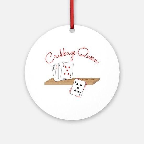 Cribbage Queen Ornament (Round)