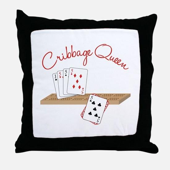 Cribbage Queen Throw Pillow