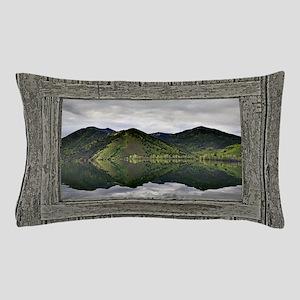 Old window mountain lake Pillow Case