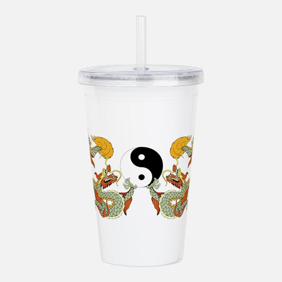 10xyingyangdragons.png Acrylic Double-wall Tumbler