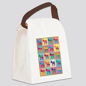 Pop Art Democrat Donkey Logo Canvas Lunch Bag