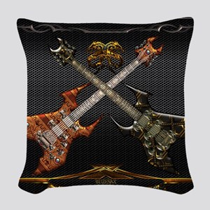 Fantastic Guitars by Bluesax Woven Throw Pillow