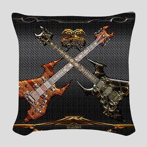 Fantastic Guitars by Bluesax Woven Throw Pillow