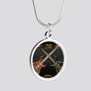 Fantastic Guitars by Bluesax Silver Round Necklace