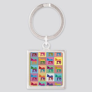 Pop Art Democrat Donkey Logo Keychains