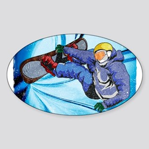 Snowboarder in Edgy Snow Storm Sticker