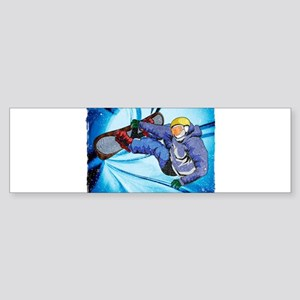 Snowboarder in Edgy Snow Storm Bumper Sticker