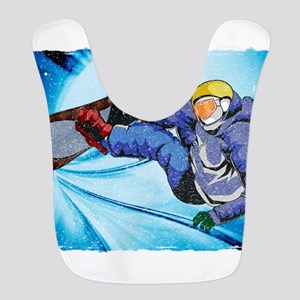 Snowboarder in Edgy Snow Storm Bib