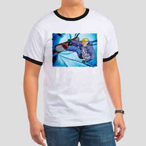 Snowboarder in Edgy Snow Storm T-Shirt