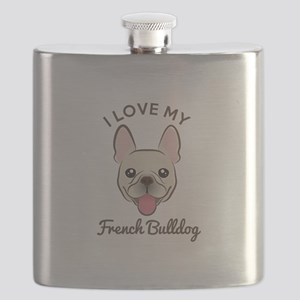 I Love My French Bulldog Flask
