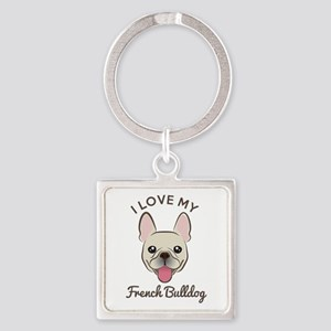 I Love My French Bulldog Square Keychain