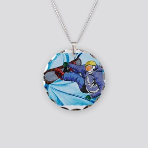 Snowboarder in Edgy Snow Sto Necklace Circle Charm