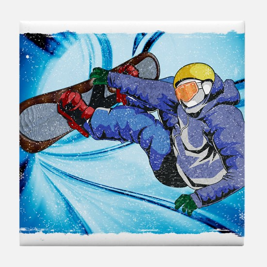 Snowboarder in Edgy Snow Storm Tile Coaster