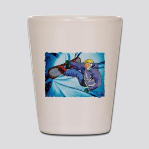 Snowboarder in Edgy Snow Storm Shot Glass