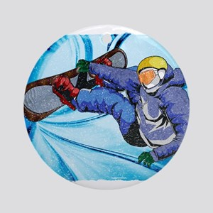 Snowboarder in Edgy Snow Storm Ornament (Round)