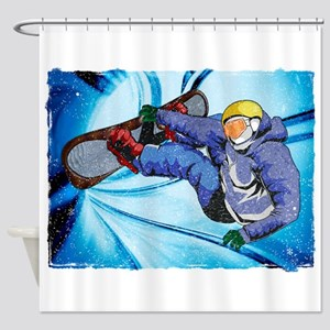 Snowboarder in Edgy Snow Storm Shower Curtain