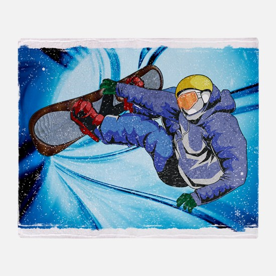 Snowboarder in Edgy Snow Storm Throw Blanket