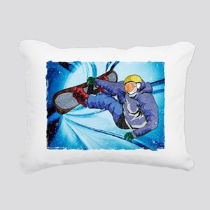 Snowboarder in Edgy Snow Rectangular Canvas Pillow
