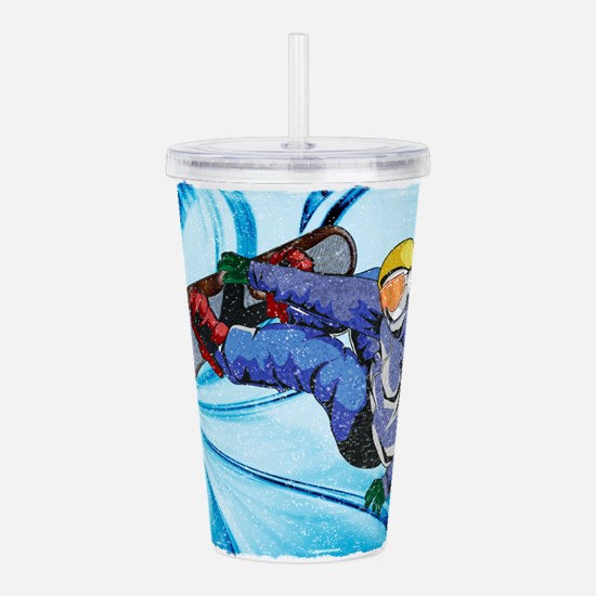 Snowboarder in Edgy Sn Acrylic Double-wall Tumbler