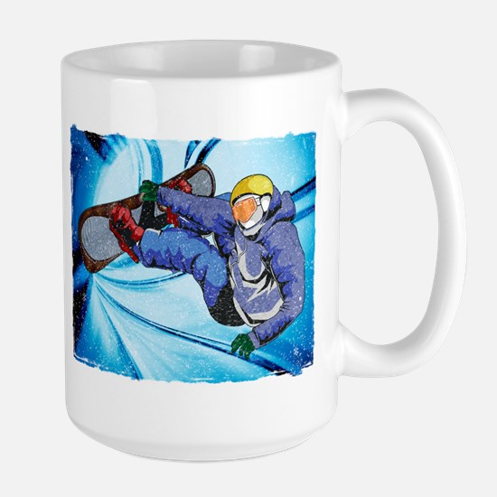 Snowboarder in Edgy Snow Storm Mugs