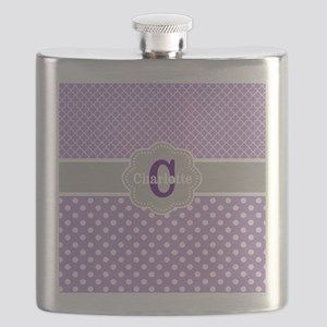 Purple Gray Dots Quatrefoil Personalized Flask