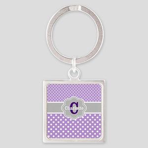 Purple Gray Dots Quatrefoil Personalized Keychains