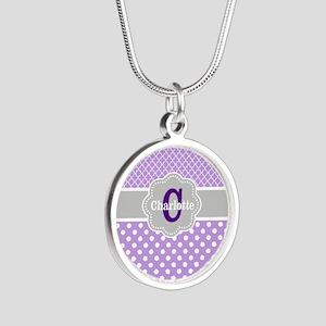Purple Gray Dots Quatrefoil Personalized Necklaces