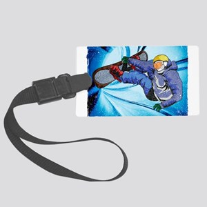Snowboarder in Edgy Snow Storm Large Luggage Tag