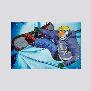 Snowboarder in Edgy Snow Storm Magnets