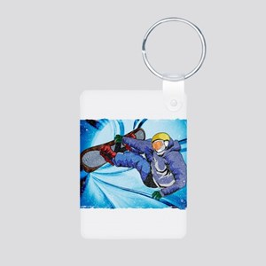 Snowboarder in Edgy Snow Storm Keychains