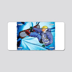 Snowboarder in Edgy Snow St Aluminum License Plate
