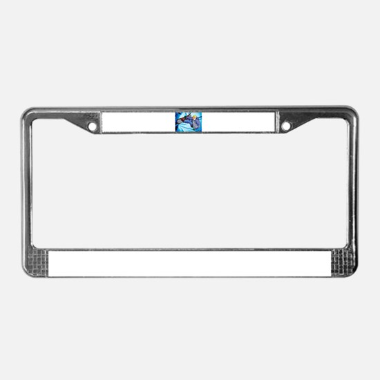 Snowboarder in Edgy Snow Storm License Plate Frame