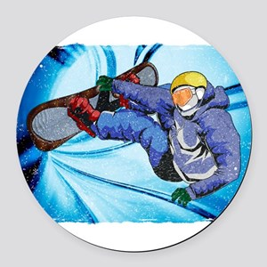 Snowboarder in Edgy Snow Storm Round Car Magnet