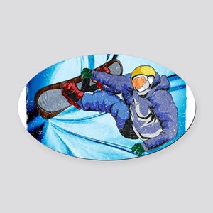 Snowboarder in Edgy Snow Storm Oval Car Magnet