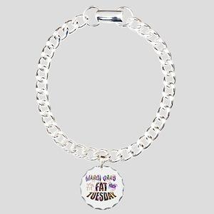Fat Tuesday Bracelet Charm Bracelet, One Charm