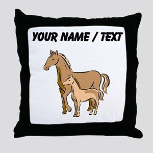 Custom Horse And Foal Throw Pillow