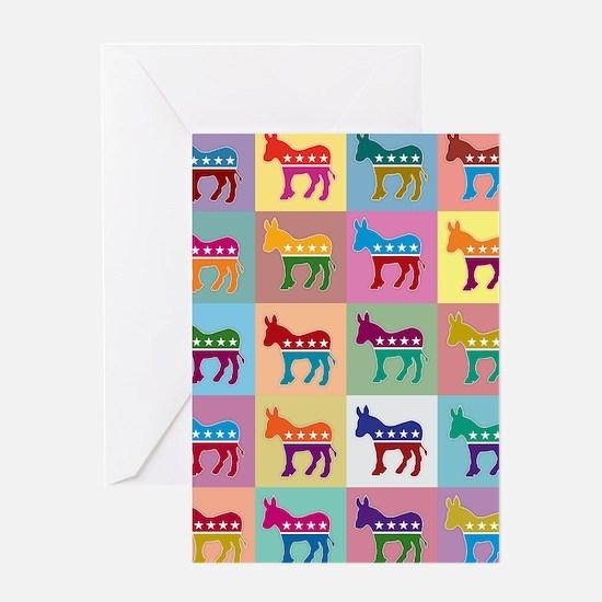 Pop Art Democrat Donkey Logo Greeting Cards