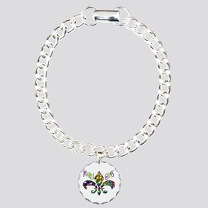 Mardi Gras Fleur Charm Bracelet, One Charm