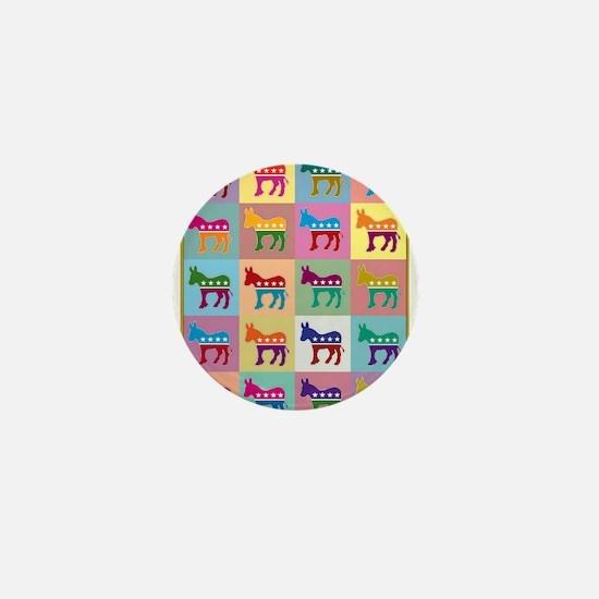 Pop Art Democrat Donkey Logo Mini Button
