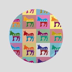 "Pop Art Democrat Donkey Logo 3.5"" Button"