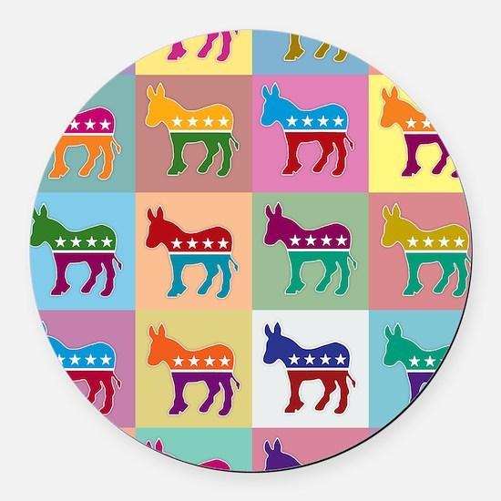 Pop Art Democrat Donkey Logo Round Car Magnet