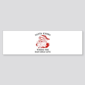 Santa Knows Where The Bad Girls Live Sticker (Bump