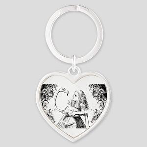 Flamingo Alice Swirls Heart Keychain