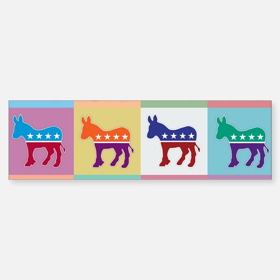 Pop Art Democrat Donkey Logo Bumper Car Car Sticker