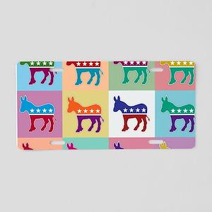 Pop Art Democrat Donkey Log Aluminum License Plate