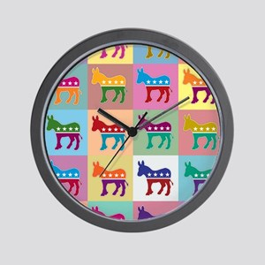 Pop Art Democrat Donkey Logo Wall Clock