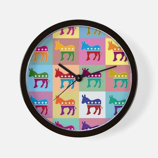 Pop Art Democrat Donkey Logo Wall Clock