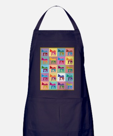 Pop Art Democrat Donkey Logo Apron (dark)