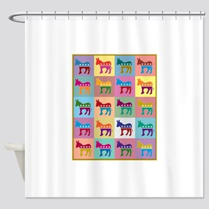 Pop Art Democrat Donkey Logo Shower Curtain