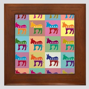 Pop Art Democrat Donkey Logo Framed Tile